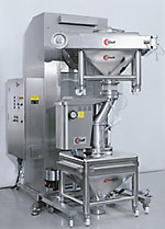 Sieving after the blending process: CM 400 Container  blender with Glatt GS 180 sieve